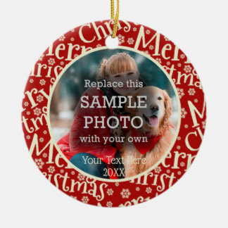 Rustic Merry Christmas, Two Photo, Two Sided Ceramic Ornament