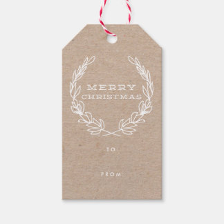 Rustic Merry Wreath   Gift tags Pack of gift tags
