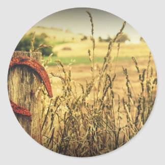 Rustic Metal Horseshoe Lucky Grain Field Round Sticker