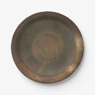 Rustic metal-look paper plate 7 inch paper plate