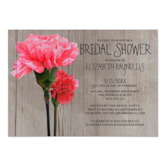 Rustic Mini-Carnation Bridal Shower Invitations