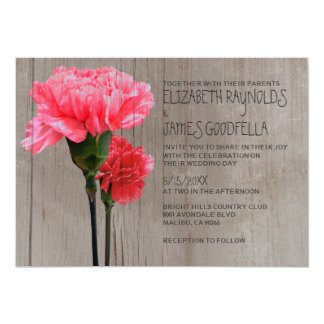 Rustic Mini-Carnation Wedding Invitations