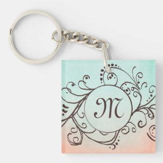 Rustic Mint and Peach Bohemian  Flourish Double-Sided Square Acrylic Keychain