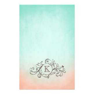 Rustic Mint and Peach Bohemian  Flourish Customized Stationery