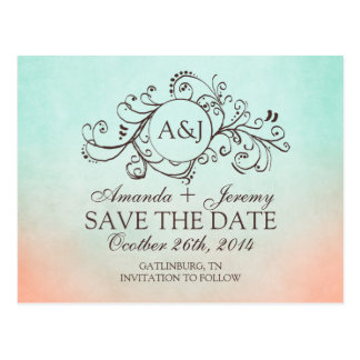 Rustic Mint and Peach Bohemian Save The Date Post Card
