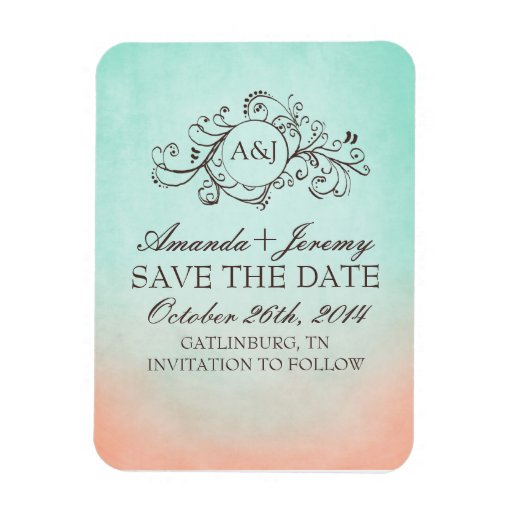 Rustic Mint and Peach Bohemian Save The Date Rectangle Magnets