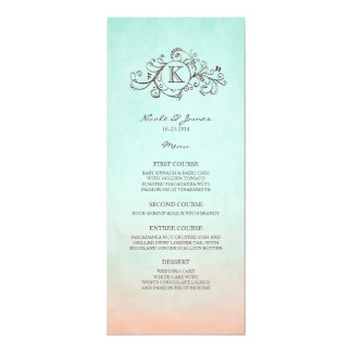 Rustic Mint and Peach Bohemian Wedding Menu 10 Cm X 24 Cm Invitation Card