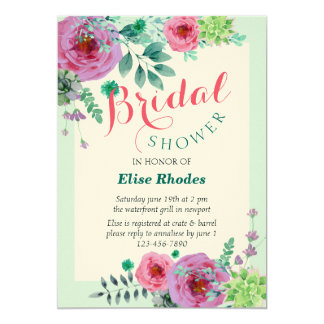 Rustic mint bridal shower with floral arrangement card