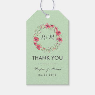 Rustic Mint Green Floral Wreath Wedding Gift Tag