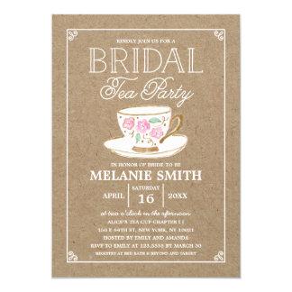 Rustic Modern Bridal Tea Party   Bridal Shower 13 Cm X 18 Cm Invitation Card