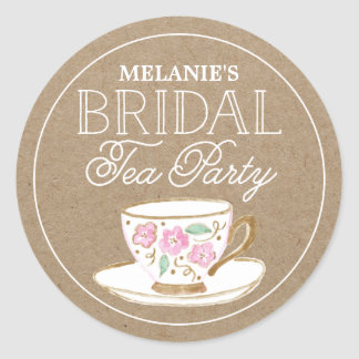 Rustic Modern Bridal Tea Party   Bridal Shower Round Sticker