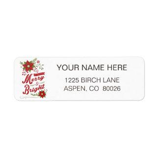 Rustic modern Christmas floral Return Address Label