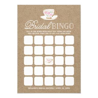 Rustic Modern Tea Party Bingo | Bridal Shower Card