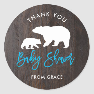 Rustic Mom and Baby Bear Baby Shower Sticker