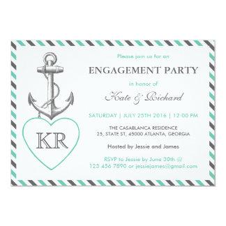 Rustic Monogram Anchor Engagement Party Invitation