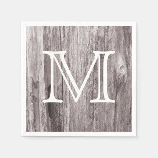Rustic Monogram Country Weathered Wood Vintage Paper Serviettes