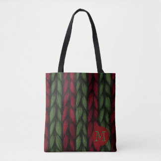 Rustic Monogram Red and Green Knit Pattern Tote Bag