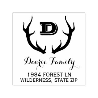 Rustic Monogram Return Address | Deer Antlers Self-inking Stamp