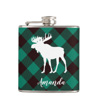 Rustic Moose Buffalo Green & Black Plaid Pattern Hip Flask