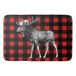 Rustic Moose Red & Black Buffalo Lumberjack Plaid Bath Mat