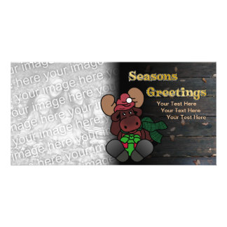 Rustic Moose Seasons Greetings Holiday Card Custom Photo Card