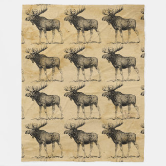 Rustic Moose Wildlife Fleece Blanket Cabin Decor