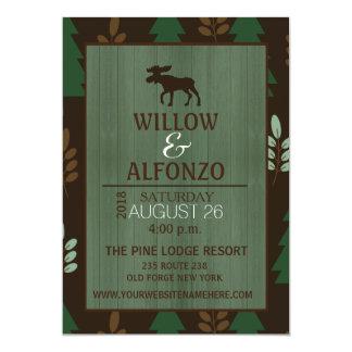 Rustic Moose Wood grain Wedding Invitation