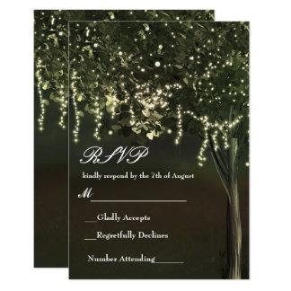 Rustic Mossy Lighted Tree Wedding RSVP 9 Cm X 13 Cm Invitation Card