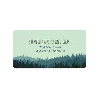 Rustic Mountain address label standard size blue