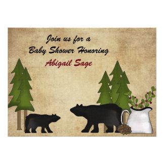 Rustic Mountain Bear Baby Shower Invitation