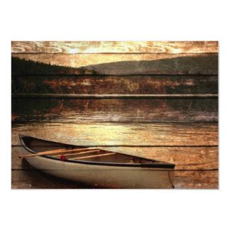 Rustic Mountain Canoe Trip Design 13 Cm X 18 Cm Invitation Card