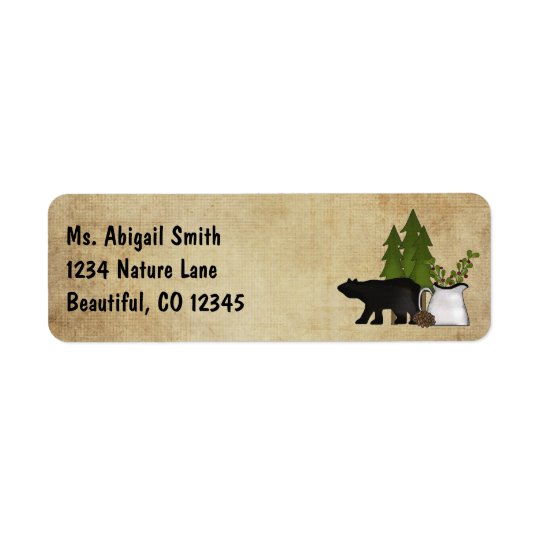 Rustic Mountain Country Silhouette Bear Address Return Address Label