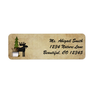 Rustic Mountain Country Silhouette Moose Address Return Address Label