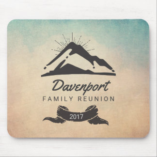 Rustic Mountain Illustration Family Reunion Mouse Pad