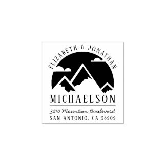 Rustic Mountain Silhouette Wedding Return Address Rubber Stamp