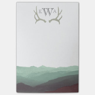 Rustic Mountain Watercolor & Antler | Monogram | Post-it Notes