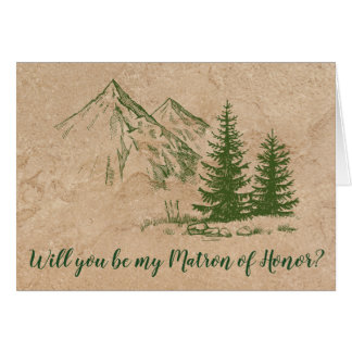 Rustic Mountain Wedding Matron of Honor Invitation