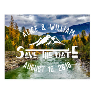 Rustic Mountain Wedding | Save the Date Postcard
