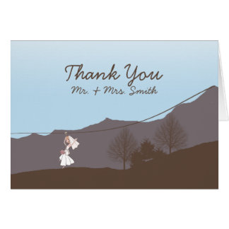 Rustic Mountain Zipline Thank You card