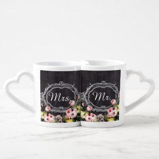 rustic mr. mrs  vintage flowers Chalkboard wedding Coffee Mug Set