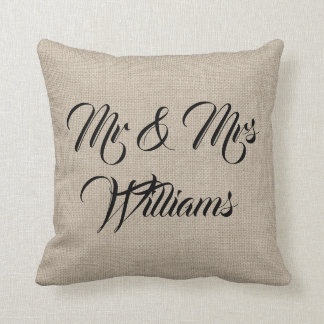 Rustic Mrs. & Mrs. Pillow