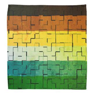 Rustic Multicolored Abstract Stripes Bandana