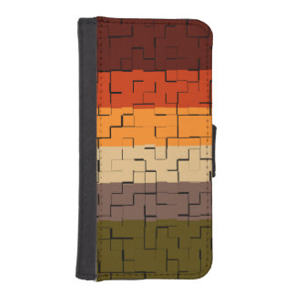 Rustic Multicolored Abstract Stripes iPhone SE/5/5s Wallet Case