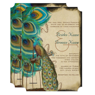 Rustic Musical Peacock Birdcage Wedding Invitation