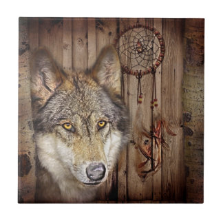 rustic native indian dream catcher wild wolf small square tile