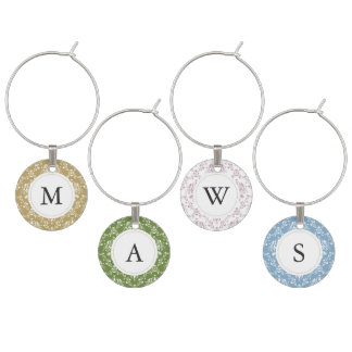 Rustic Natural Beach Themed Monogrammed Damask Wine Charm