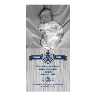 Rustic Nautical Baby Birth Photo Greeting Card