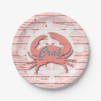 Rustic Nautical Crab On Peeling Wood | Print 7 Inch Paper Plate