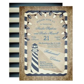 Rustic Nautical Lighthouse Beach Rehearsal Dinner Card