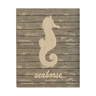 Rustic Nautical Seahorse On Peeling Wood   Print Wood Prints